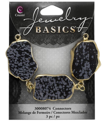 Cousin® Jewelry Basics Gold Gilded Connectors-Black & White Spots
