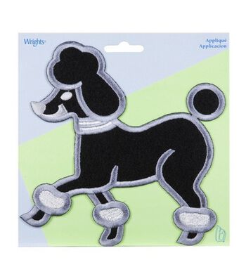 X-Large Black Poodle Applique