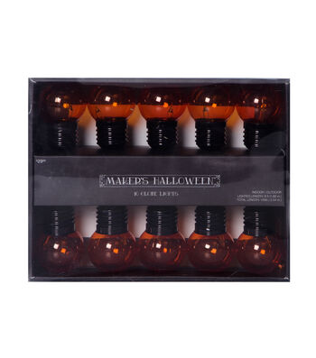 Maker's Halloween 10 Count 40g Globe String Lights-Orange