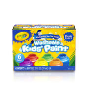 Crayola Washable Kids Paint 2oz 6/Pkg-Classic, , hi-res