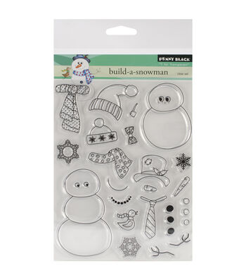"""Penny Black Clear Stamps 5""""X6.5"""" Sheet-Build-A-Snowman"""