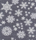Luxe Flannel Fabric 42\u0022-Snowflakes Gray Heather