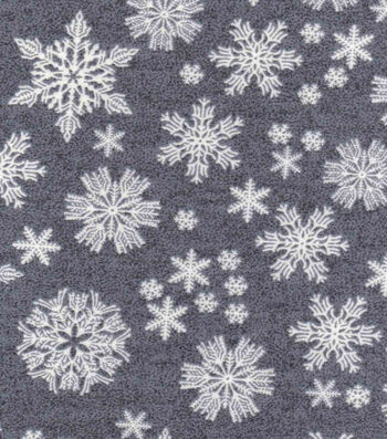 "Luxe Flannel Fabric 42""-Snowflakes Gray Heather"