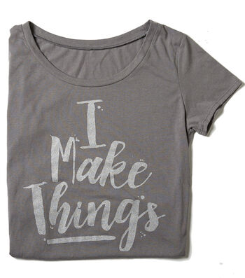 T-Shirt L/XL-I Make Things on Gray