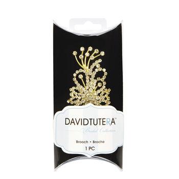 David Tutera™ Bridal Collection Gold Base Flat Spray Rhinestone Broach