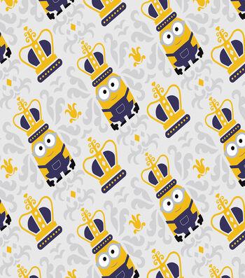 Minions & Mini Damask Cotton Fabric 44''-Gray