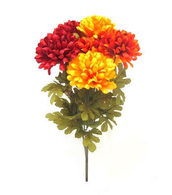 Blooming Autumn 22'' Ball Mum Bush-Yellow Orange & Burgundy