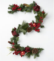 Blooming Holiday 66'' Tartan Bow, Pine, Berry, Pinecone & Ball Garland, , hi-res