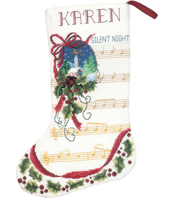 """Silent Night Stocking Counted Cross Stitch Kit-10.5""""X15"""" 14 Count"""