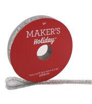 Maker's Holiday Christmas Tinsel Ribbon 3/8''x9'-Silver, , hi-res