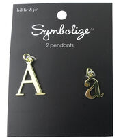 hildie & jo™ 2 Pack Letter 'A' Upper & Lower Case Gold Pendants, , hi-res