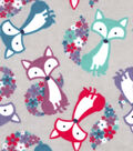 Snuggle Flannel Fabric 42\u0022-Floral Tail Fox