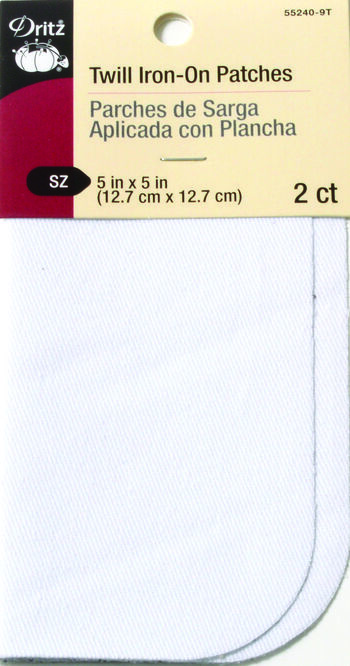 Dritz Twill Patches - 5 X 5 -  White 2 Count