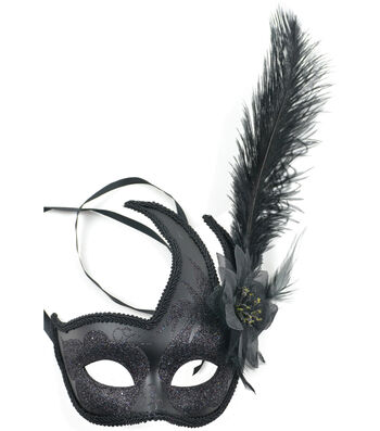 Maker's Halloween Half Mask with Feather-Black