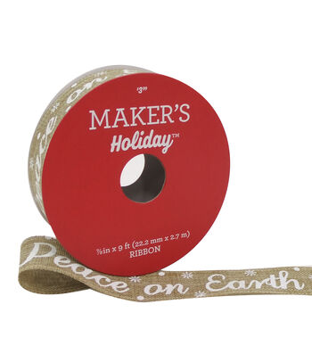 Maker's Holiday Christmas Ribbon 7/8''X9'-White Peace on Earth