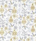 Christmas Cotton Fabric 43\u0022-Metallic Leave & Ornaments