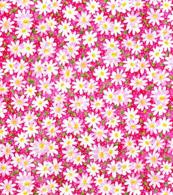 Keepsake Calico™ Cotton Fabric 44''-Pink Packed Daisy