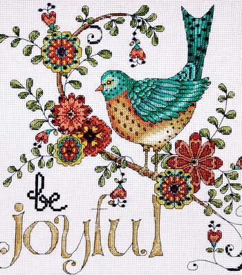 "Heartfelt Be Joyful Counted Cross Stitch Kit-10""X10"" 14 Count"