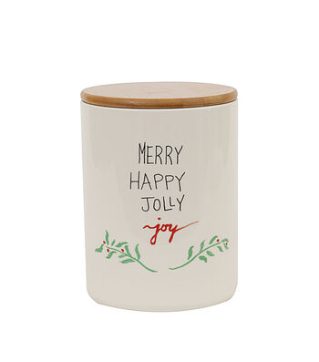 3R Studios Ceramic Jar with Bamboo Lid-Merry, Happy, Jolly & Joy