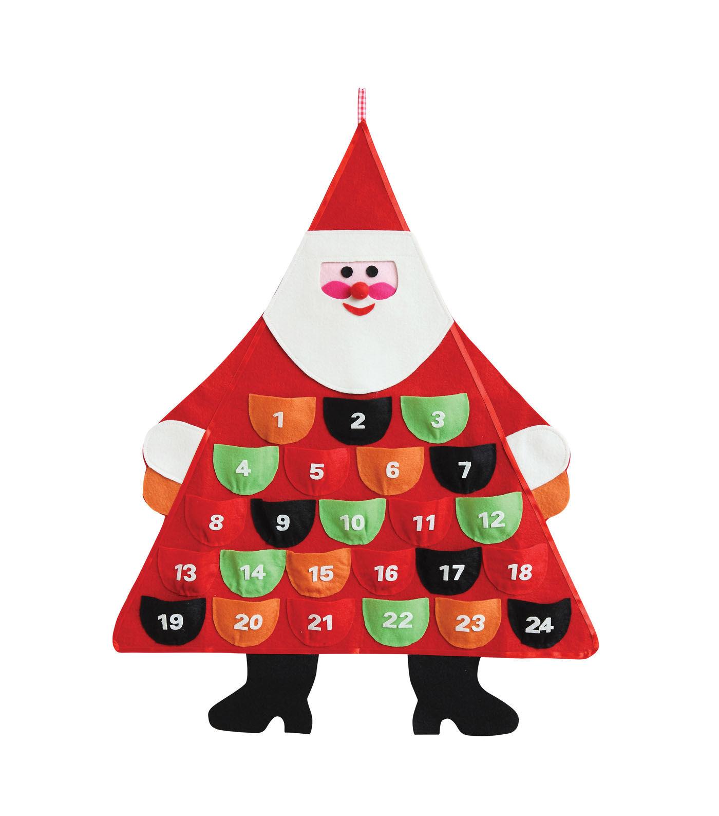 3R Studios Felt U0026 Fabric Santa Shaped Wall Advent Calendar
