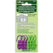 Clover Locking Stitch Markers With Clip, , hi-res