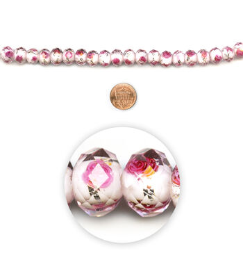 """Blue Moon Beads 7"""" Strand Facetted Rondelle Pink with Flower core"""