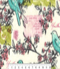 Anti-Pill Fleece Fabric 59\u0022-Spring Birds Branches Postcards