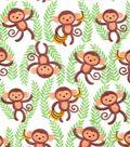 Snuggle Flannel Fabric 42\u0027\u0027-Monkeys & Vines on White