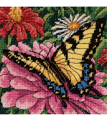 Butterfly On Zinnia Mini Needlepoint Kit