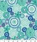Quilter\u0027s Showcase Cotton Fabric 44\u0027\u0027-Blue & Teal Floral Medallion