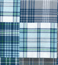 Snuggle Flannel Fabric 42\u0022-Navy Gray Madras Plaid