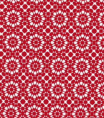 "Quilter's Showcase™ Cotton Fabric 44""-Red Kaleidescope On White"