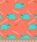 Hip Hip Hooray Hippo Print Fabric
