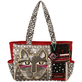 "Laurel Burch Medium Tote Zipper Top 16.5""x4""x9.75""-Whiskered Cat"