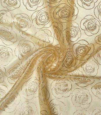 """Glitterbug Organza Fabric 56""""-Yellow Rose Glitter"""