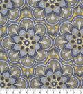 Keepsake Calico Cotton Fabric-Floral Medallion Yellow/Gray