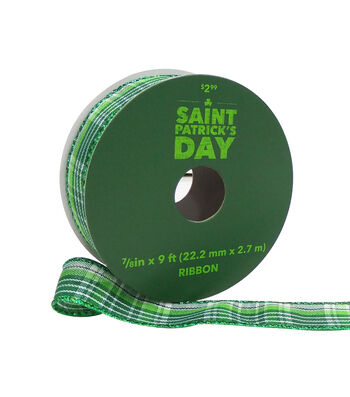 St. Patrick's Day Ribbon 7/8''x9'-Green Plaid
