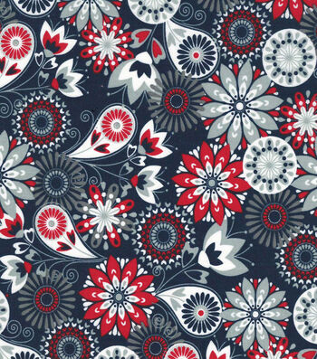 "Quilter's Showcase™ Cotton Fabric 44""-Red Navy Floral Paisley"