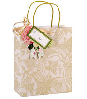 Anna Griffin Ivory Damask Cub Gift Bag 4 Count, , hi-res