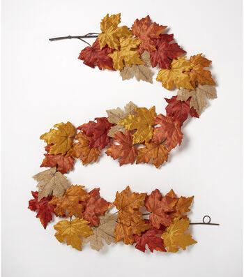 Blooming Autumn 66'' Maple Leaf Garland-Rust & Tan