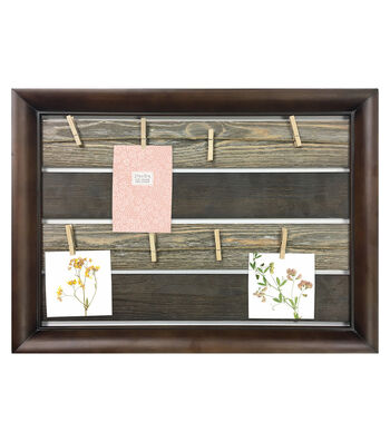 Dark Wood Plank Collage Frame with Rope & 8 Clips 21.75''x15.75''