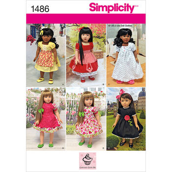 Simplicity Pattern 1486OS One Size -Crafts Doll Clothes