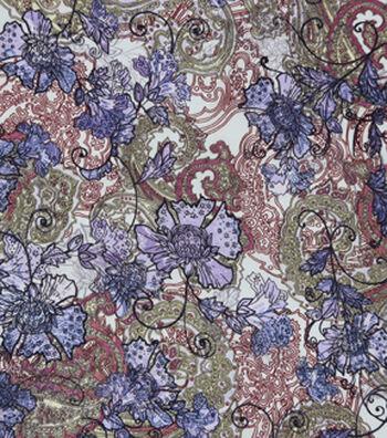 Silky Prints Stretch Chiffon Fabric 57''-Paisley & Floral