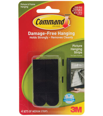 Command Medium Picture Hanging Strips-Black