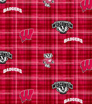 "University of Wisconsin Badgers Cotton Fabric 44""-Plaid, , hi-res"