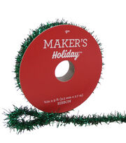 Maker's Holiday Christmas Tinsel Ribbon 3/8''x9'-Green, , hi-res
