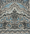 Knits - Quilted Sketch Floral Black Blue Knit