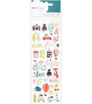 "Dear Lizzy Lovely Day Puffy Stickers 3""X8""-Mini Icons, , hi-res"