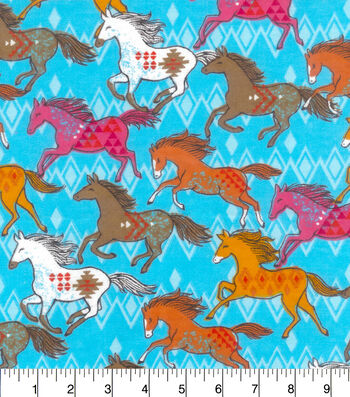 "Snuggle Flannel Fabric 42""-Colorful Running Horses"