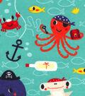 Snuggle Flannel Fabric 42\u0022-Pirate Sea Creatures